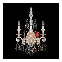Schonbek Renaissance 3 Light Wall Sconce in Antique Silver and Golden Teak Swarovski Elements Colors Trim 3762-48TK