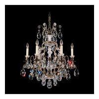 Schonbek Renaissance 7 Light Chandelier in Bronze Umber and Silver Shade Swarovski Elements Colors Trim 3770-75SH