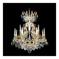 Schonbek Renaissance 13 Light Chandelier in Heirloom Gold and Golden Teak Swarovski Elements Colors Trim 3772-22TK