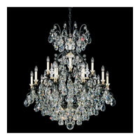 Schonbek Renaissance 16 Light Chandelier in Black and Silver Shade Swarovski Elements Colors Trim 3773-51SH