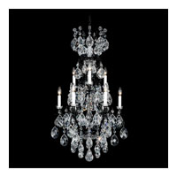 Schonbek Renaissance 10 Light Chandelier in Wet Black and Silver Shade Swarovski Elements Colors Trim 3780-55SH