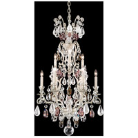 Renaissance 10 Light 21 inch Antique Silver Chandelier Ceiling Light in Amethyst and Black Diamond