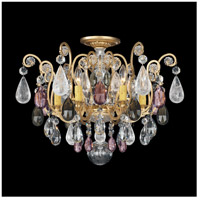Schonbek 3584-47AD Renaissance Rock Crystal 6 Light 20 inch Antique Pewter Flush Mount Ceiling Light in Amethyst and Black Diamond