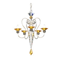 Schonbek Rhiannon 5 Light Chandelier in Silver and Topaz Optic Handcut Colors Trim 9655-40TO
