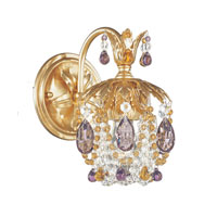 Schonbek Rondelle 1 Light Wall Sconce in French Gold and Amethyst & Topaz Vintage Crystal Trim 1252-26AT