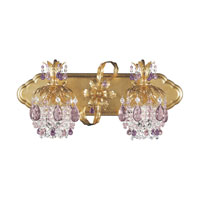 Schonbek Rondelle 2 Light Bath Light in French Gold and Amethyst Vintage Crystal Trim 1255-26AM