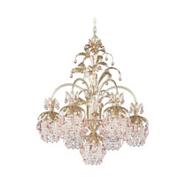 Schonbek Rondelle 7 Light Chandelier in Silvergild and Pink Vintage Crystal Trim 1267-91PK