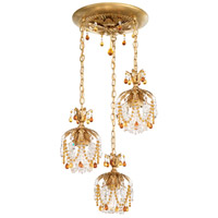 Rondelle 3 Light 15 inch Heirloom Gold Pendant Ceiling Light in Topaz