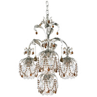 Rondelle 4 Light 18 inch Antique Silver Chandelier Ceiling Light in Smoke