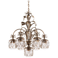 Rondelle 7 Light 24 inch Etruscan Gold Chandelier Ceiling Light in Black Diamond