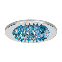 Schonbek Slices 1 Light Recessed Light in Stainless Steel and Beyond Blue Swarovski Elements Trim SLR431BEY