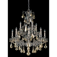 Schonbek Sophia 12 Light Chandelier in Gilded Pewter and Golden Shadow Heritage Handcut Colors Trim 6958-89GS photo thumbnail