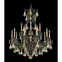 Schonbek Sophia 15 Light Chandelier in Florentine Bronze and Golden Shadow Heritage Handcut Colors Trim 6959-83GS