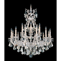Schonbek Sophia 18 Light Chandelier in Provincial Gold and Silver Shade Heritage Handcut Colors Trim 6960-85SH photo thumbnail