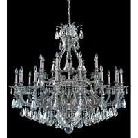Schonbek Sophia 24 Light Chandelier in Roman Silver and Silver Shade Heritage Handcut Colors Trim 6962-80SH