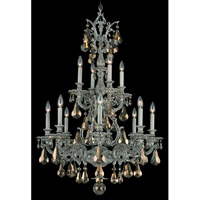 Schonbek Sophia 12 Light Chandelier in Cypress and Golden Shade Heritage Handcut Colors Trim 6963-88TK