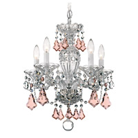 Schonbek Sterling 5 Light Chandelier in Silver and Pink Heritage Handcut (R) Trim 2999-40PK