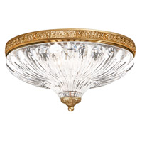 Milano 3 Light 12 inch French Gold Flush Mount Ceiling Light
