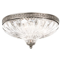 Milano 3 Light 12 inch Antique Silver Flush Mount Ceiling Light