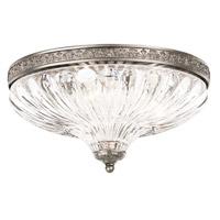 Schonbek 5631-48 Milano 3 Light 12 inch Antique Silver Flush Mount Ceiling Light in Cast Antique Silver