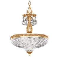 Milano 3 Light Heirloom Gold Pendant Ceiling Light in Clear Optic Handcut