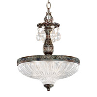 Milano 3 Light 12 inch Heirloom Bronze Pendant Ceiling Light in Clear Optic Handcut