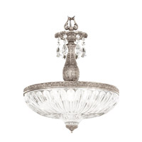 Milano 4 Light 16 inch Antique Silver Pendant Ceiling Light in Clear Optic Handcut