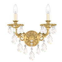 Milano 2 Light 8 inch Heirloom Gold Wall Sconce Wall Light in Clear Optic Handcut