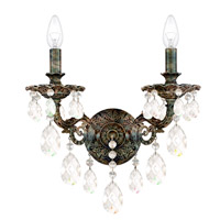 Milano 2 Light 8 inch Heirloom Bronze Wall Sconce Wall Light in Clear Optic Handcut
