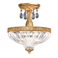 Milano 2 Light 10 inch French Gold Semi Flush Mount Ceiling Light in Clear Optic Handcut