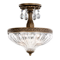 Milano 2 Light 10 inch Heirloom Bronze Semi Flush Mount Ceiling Light in Clear Optic Handcut