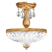 Milano 3 Light 12 inch French Gold Semi Flush Mount Ceiling Light in Clear Optic Handcut