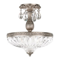 Milano 3 Light 12 inch Antique Silver Semi Flush Mount Ceiling Light in Clear Optic Handcut