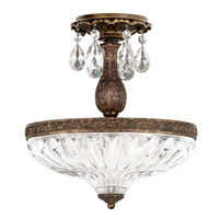 Milano 3 Light 12 inch Heirloom Bronze Semi Flush Mount Ceiling Light in Clear Optic Handcut