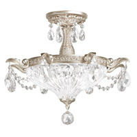 Milano 2 Light 17 inch Antique Silver Semi Flush Mount Ceiling Light in Clear Optic Handcut