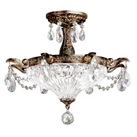 Milano 2 Light 17 inch Heirloom Bronze Semi Flush Mount Ceiling Light in Clear Optic Handcut