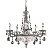 Milano 7 Light 21 inch Antique Silver Chandelier Ceiling Light in Clear Optic Handcut