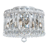 Schonbek 6690A Plaza 4 Light 8 inch Stainless Steel Flush Mount Ceiling Light in Clear Spectra