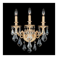 Schonbek Sophia 3 Light Wall Sconce in Parchment Gold and Clear Optic Handcut Trim 6943-27O