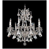 Schonbek Sophia 9 Light Chandelier in Roman Silver and Silver Shade Heritage Handcut Colors Trim 6949-80SH