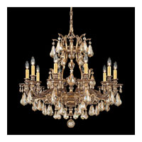Schonbek Sophia 10 Light Chandelier in Florentine Bronze and Golden Shadow Heritage Handcut Colors Trim 6950-83GS