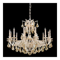 Schonbek Sophia 12 Light Chandelier in Provincial Gold and Golden Shadow Heritage Handcut Colors Trim 6952-85GS