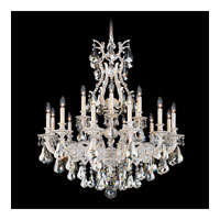 Schonbek Sophia 18 Light Chandelier in Provincial Gold and Silver Shade Heritage Handcut Colors Trim 6960-85SH