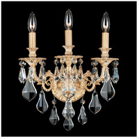 Sophia 3 Light 9 inch Parchment Gold Wall Sconce Wall Light in Clear Optic Handcut