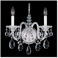 Sterling 2 Light 7 inch Silver Wall Sconce Wall Light in Clear Swarovski