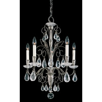 Schonbek Tesoro 5 Light Chandelier in Antique Pewter and Clear Rock Crystal Trim 9705-47