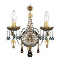 Schonbek The Rose 2 Light Wall Sconce in Antique Silver and Autumn Vintage Crystal Colors Trim 1422-48AN photo thumbnail