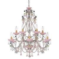 Schonbek The Rose 12 Light Chandelier in Tourmaline and Opal Rose Vintage Crystal Colors Trim 1432-82OR photo thumbnail