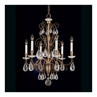 Schonbek Tesoro 6 Light Chandelier in Bronze Gold and Clear Rock Crystal Trim 9706-28