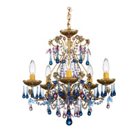 Schonbek The Rose 5 Light Chandelier in Heirloom Gold and Blue Violet Vintage Crystal Colors Trim 1425-22BV photo thumbnail